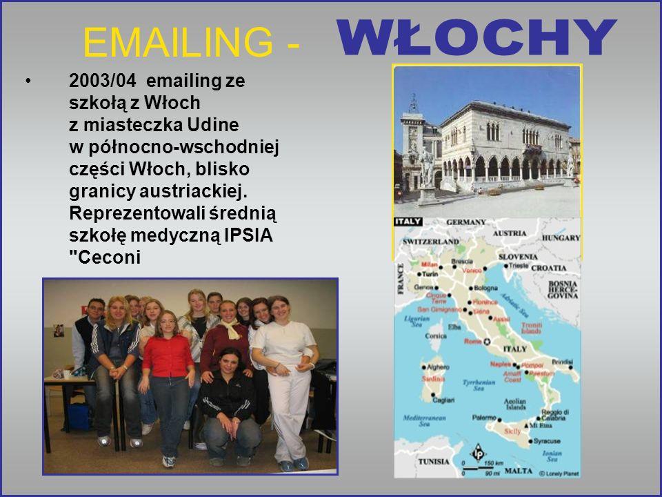 EMAILING - 2003/04 emailing ze szkołą z Włoch z miasteczka Udine w północno-wschodniej części Włoch, blisko granicy austriackiej.