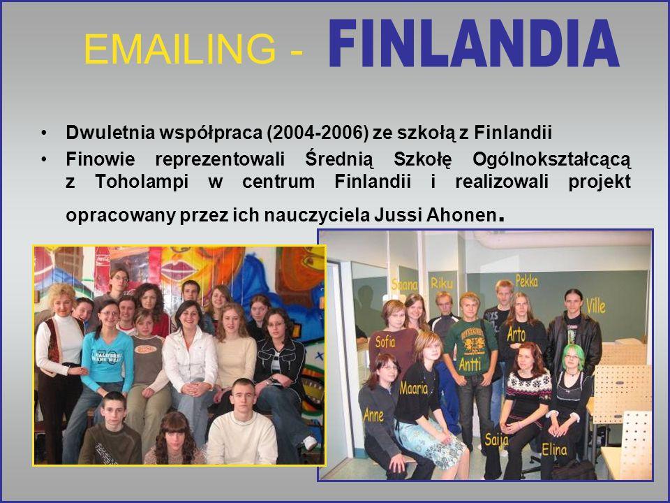 EMAILING - Dwuletnia współpraca (2004-2006) ze szkołą z Finlandii Finowie reprezentowali Średnią Szkołę Ogólnokształcącą z Toholampi w centrum Finland
