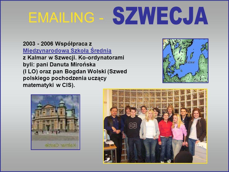 EMAILING - 2003 - 2006 Współpraca z Międzynarodową Szkołą Średnią z Kalmar w Szwecji. Ko-ordynatorami byli: pani Danuta Mirońska (I LO) oraz pan Bogda