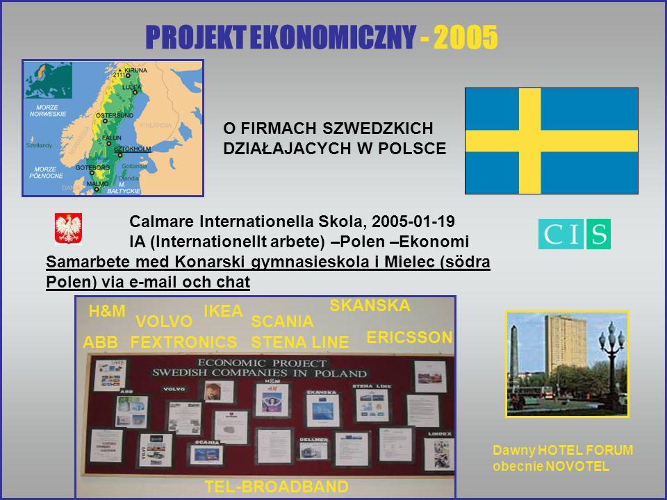 PROJEKT EKONOMICZNY - 2005 Calmare Internationella Skola, 2005-01-19 IA (Internationellt arbete) –Polen –Ekonomi Samarbete med Konarski gymnasieskola