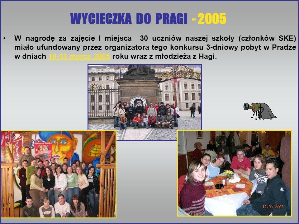 WYCIECZKA DO PRAGI - 2005 W nagrodę za zajęcie I miejsca 30 uczniów naszej szkoły (członków SKE) miało ufundowany przez organizatora tego konkursu 3-d
