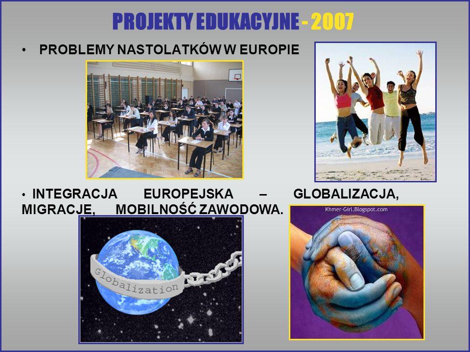 PROJEKTY EDUKACYJNE - 2007 PROBLEMY NASTOLATKÓW W EUROPIE INTEGRACJA EUROPEJSKA – GLOBALIZACJA, MIGRACJE, MOBILNOŚĆ ZAWODOWA.