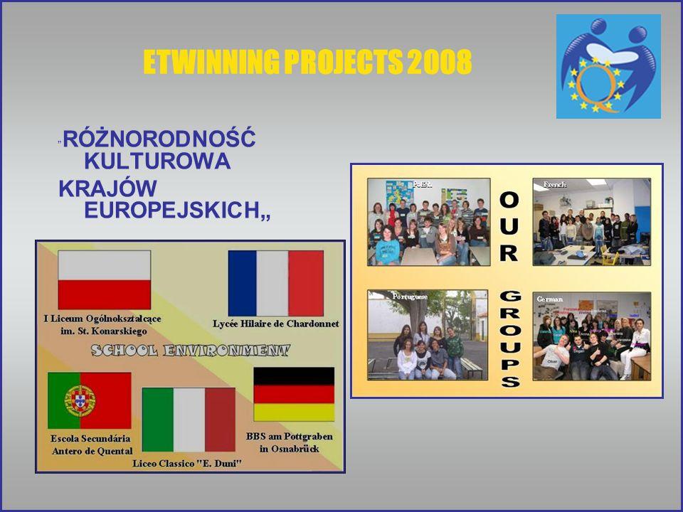 ETWINNING PROJECTS 2008 RÓŻNORODNOŚĆ KULTUROWA KRAJÓW EUROPEJSKICH