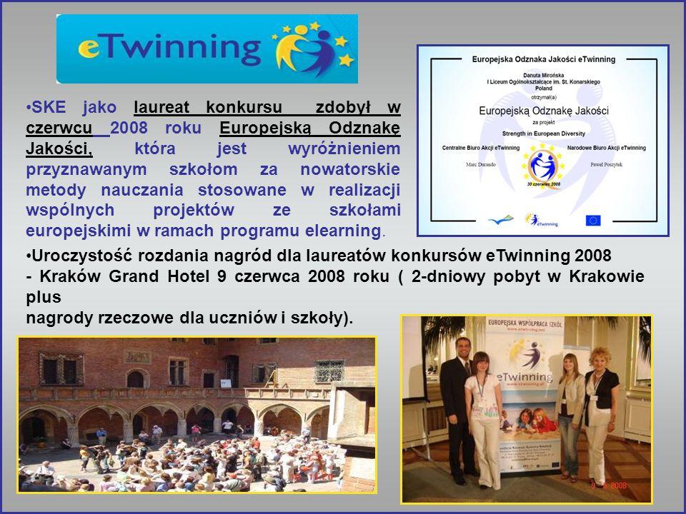 SKE jako laureat konkursu zdobył w czerwcu 2008 roku Europejską Odznakę Jakości, która jest wyróżnieniem przyznawanym szkołom za nowatorskie metody nauczania stosowane w realizacji wspólnych projektów ze szkołami europejskimi w ramach programu elearning.