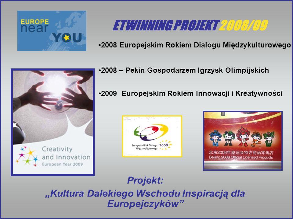 ETWINNING PROJEKT 2008/09 2008 Europejskim Rokiem Dialogu Międzykulturowego 2008 – Pekin Gospodarzem Igrzysk Olimpijskich 2009 Europejskim Rokiem Inno