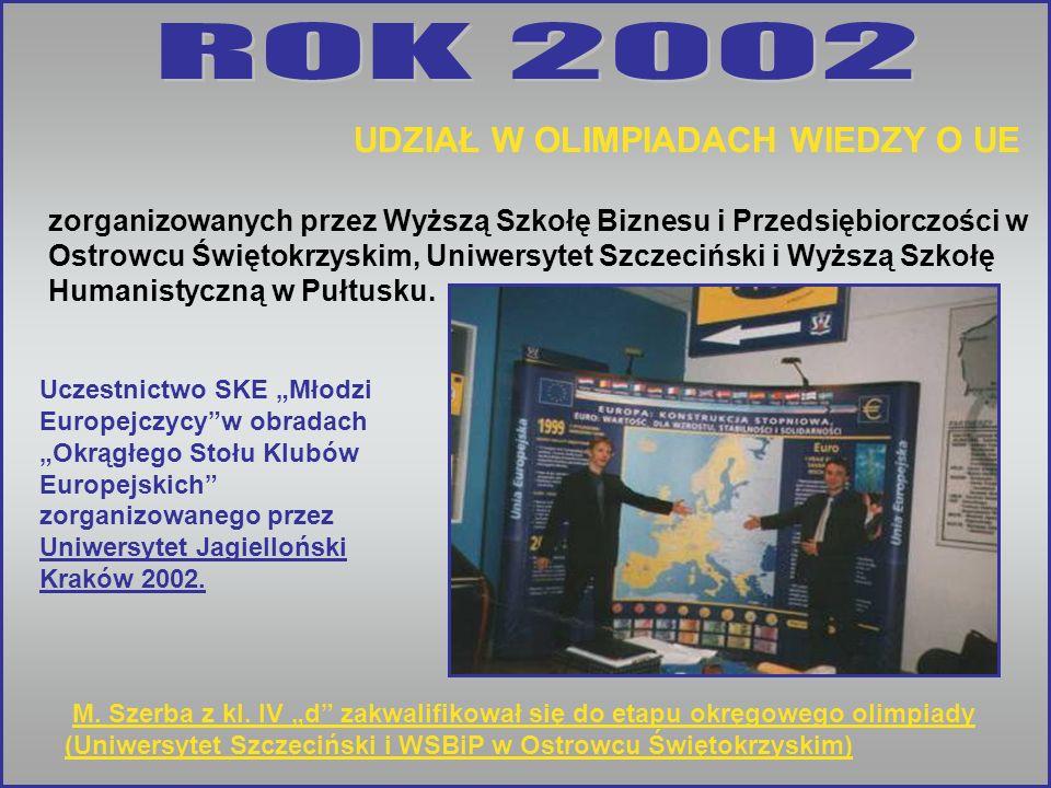 M. Szerba z kl. IV d zakwalifikował się do etapu okręgowego olimpiady (Uniwersytet Szczeciński i WSBiP w Ostrowcu Świętokrzyskim) Uczestnictwo SKE Mło