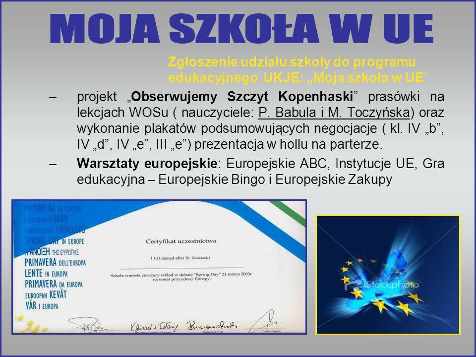 Zgłoszenie udziału szkoły do programu edukacyjnego UKJE: Moja szkoła w UE –projekt Obserwujemy Szczyt Kopenhaski prasówki na lekcjach WOSu ( nauczyciele: P.