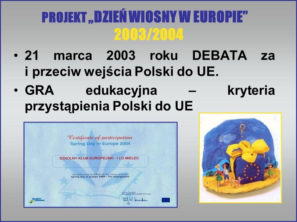 21 marca 2003 roku DEBATA za i przeciw wejścia Polski do UE. GRA edukacyjna – kryteria przystąpienia Polski do UE PROJEKT DZIEŃ WIOSNY W EUROPIE 2003/