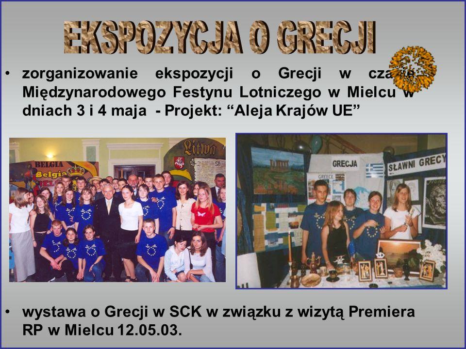 zorganizowanie ekspozycji o Grecji w czasie Międzynarodowego Festynu Lotniczego w Mielcu w dniach 3 i 4 maja - Projekt: Aleja Krajów UE wystawa o Grec