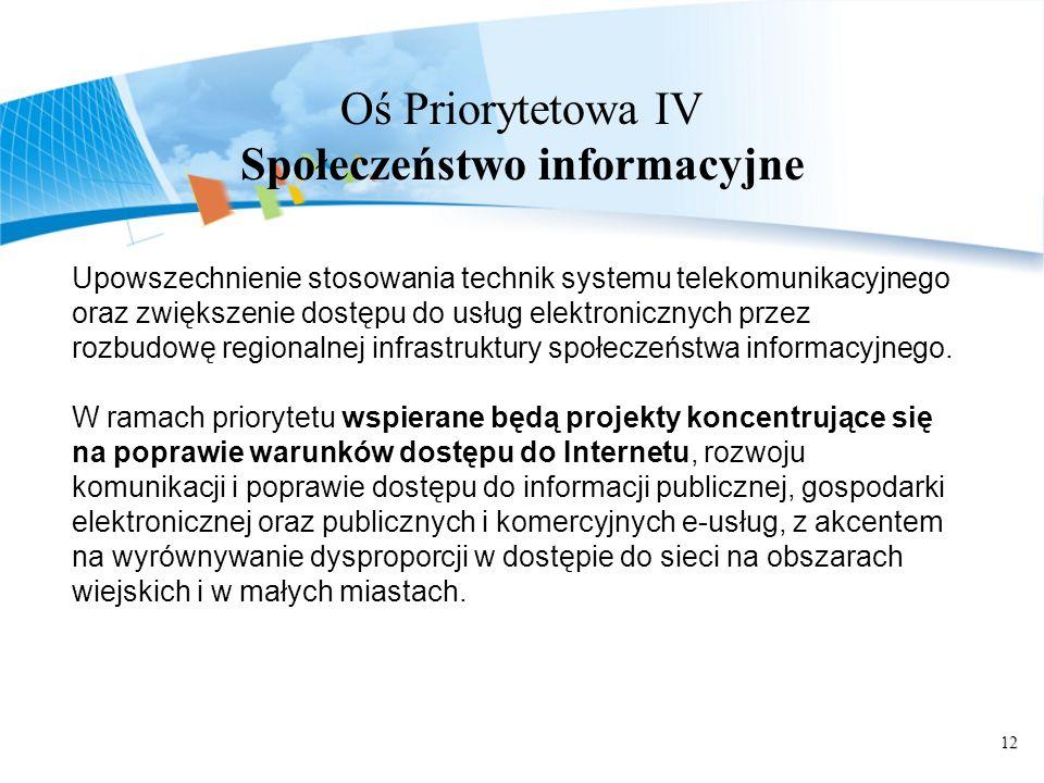 12 Oś Priorytetowa IV Społeczeństwo informacyjne Upowszechnienie stosowania technik systemu telekomunikacyjnego oraz zwiększenie dostępu do usług elektronicznych przez rozbudowę regionalnej infrastruktury społeczeństwa informacyjnego.