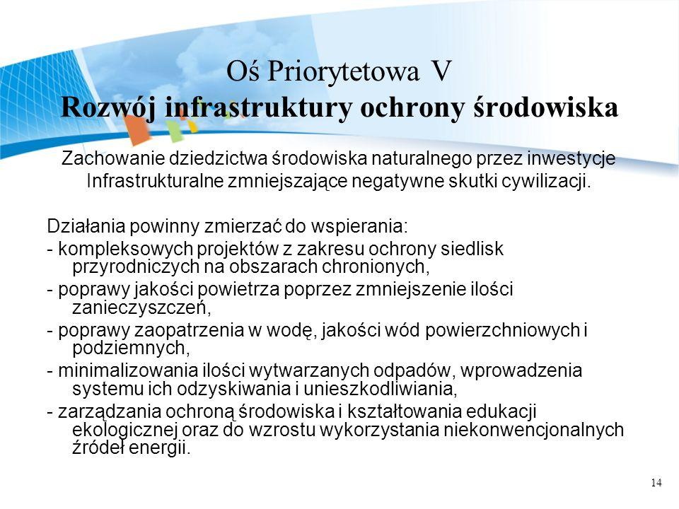 14 Oś Priorytetowa V Rozwój infrastruktury ochrony środowiska Zachowanie dziedzictwa środowiska naturalnego przez inwestycje Infrastrukturalne zmniejszające negatywne skutki cywilizacji.