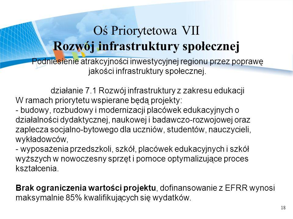 18 Oś Priorytetowa VII Rozwój infrastruktury społecznej Podniesienie atrakcyjności inwestycyjnej regionu przez poprawę jakości infrastruktury społecznej.