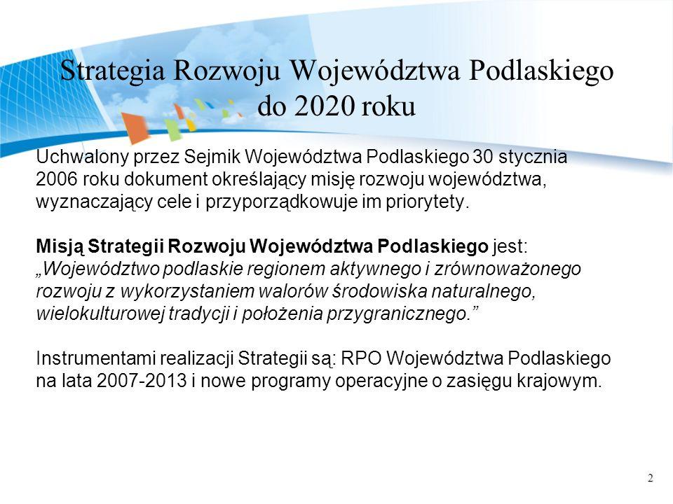 2 Strategia Rozwoju Województwa Podlaskiego do 2020 roku Uchwalony przez Sejmik Województwa Podlaskiego 30 stycznia 2006 roku dokument określający misję rozwoju województwa, wyznaczający cele i przyporządkowuje im priorytety.