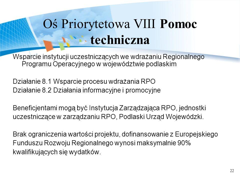 22 Oś Priorytetowa VIII Pomoc techniczna Wsparcie instytucji uczestniczących we wdrażaniu Regionalnego Programu Operacyjnego w województwie podlaskim Działanie 8.1 Wsparcie procesu wdrażania RPO Działanie 8.2 Działania informacyjne i promocyjne Beneficjentami mogą być Instytucja Zarządzająca RPO, jednostki uczestniczące w zarządzaniu RPO, Podlaski Urząd Wojewódzki.