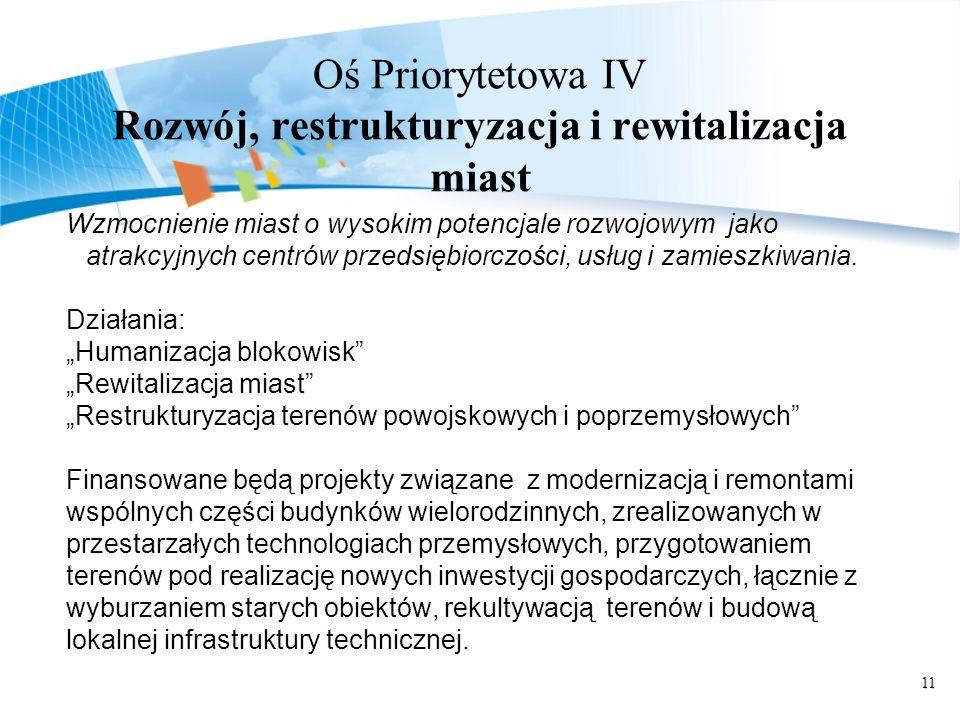 11 Oś Priorytetowa IV Rozwój, restrukturyzacja i rewitalizacja miast Wzmocnienie miast o wysokim potencjale rozwojowym jako atrakcyjnych centrów przed