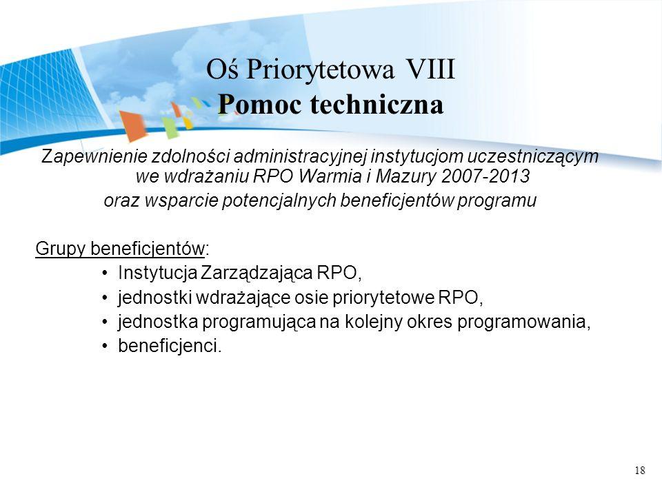 18 Oś Priorytetowa VIII Pomoc techniczna Zapewnienie zdolności administracyjnej instytucjom uczestniczącym we wdrażaniu RPO Warmia i Mazury 2007-2013