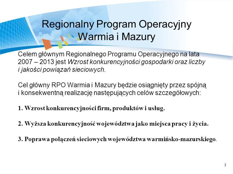 3 Regionalny Program Operacyjny Warmia i Mazury Celem głównym Regionalnego Programu Operacyjnego na lata 2007 – 2013 jest Wzrost konkurencyjności gosp