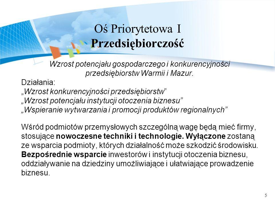 5 Oś Priorytetowa I Przedsiębiorczość Wzrost potencjału gospodarczego i konkurencyjności przedsiębiorstw Warmii i Mazur. Działania: Wzrost konkurencyj