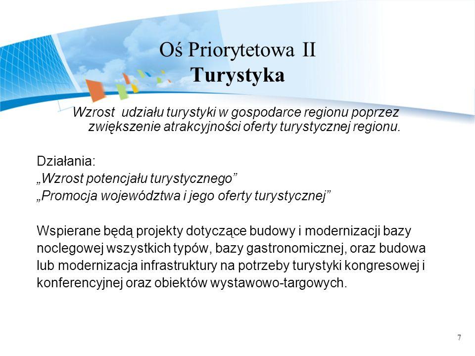 7 Oś Priorytetowa II Turystyka Wzrost udziału turystyki w gospodarce regionu poprzez zwiększenie atrakcyjności oferty turystycznej regionu. Działania: