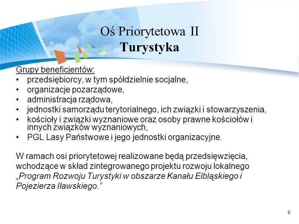 8 Oś Priorytetowa II Turystyka Grupy beneficjentów: przedsiębiorcy, w tym spółdzielnie socjalne, organizacje pozarządowe, administracja rządowa, jedno