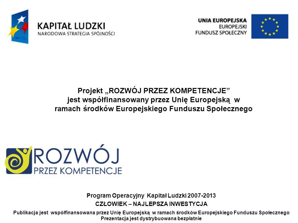Projekt ROZWÓJ PRZEZ KOMPETENCJE jest współfinansowany przez Unię Europejską w ramach środków Europejskiego Funduszu Społecznego Grupa: 96/74_MP_2 Agnieszka Kamińska