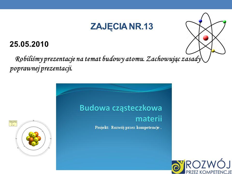 ZAJĘCIA NR.13 25.05.2010 Robiliśmy prezentacje na temat budowy atomu.