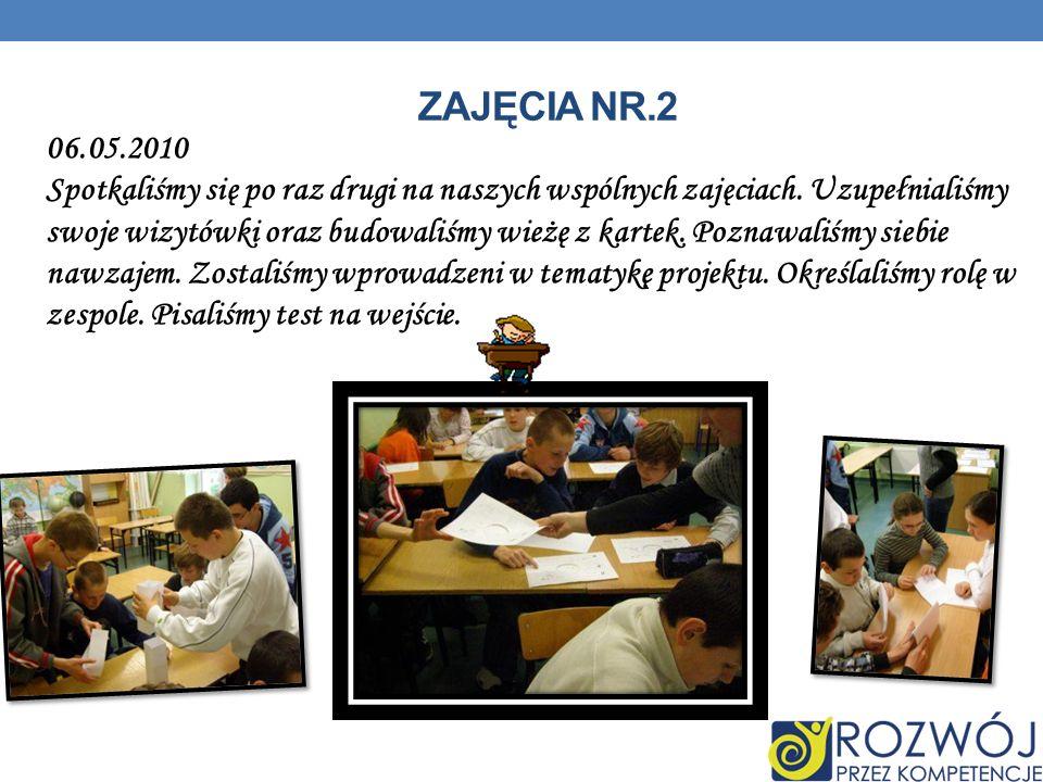 ZAJĘCIA NR.3 07.05.2010.Na naszych trzecich zajęciach wypełnialiśmy test kompetencji.