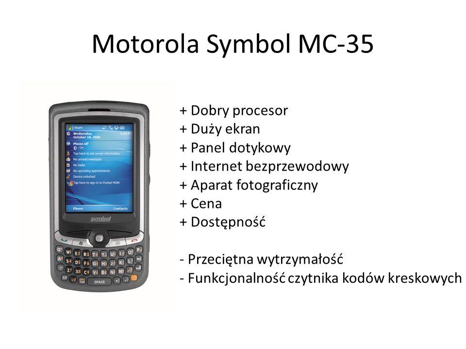 Motorola Symbol MC-35 + Dobry procesor + Duży ekran + Panel dotykowy + Internet bezprzewodowy + Aparat fotograficzny + Cena + Dostępność - Przeciętna