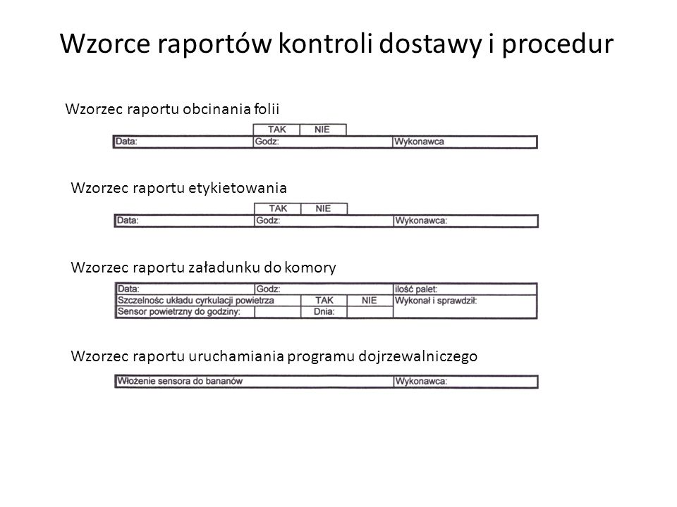 Wzorzec raportu obcinania folii Wzorzec raportu etykietowania Wzorzec raportu załadunku do komory Wzorzec raportu uruchamiania programu dojrzewalnicze