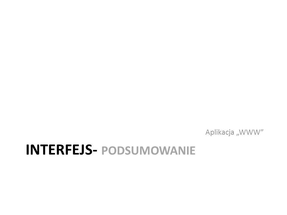INTERFEJS- PODSUMOWANIE Aplikacja WWW