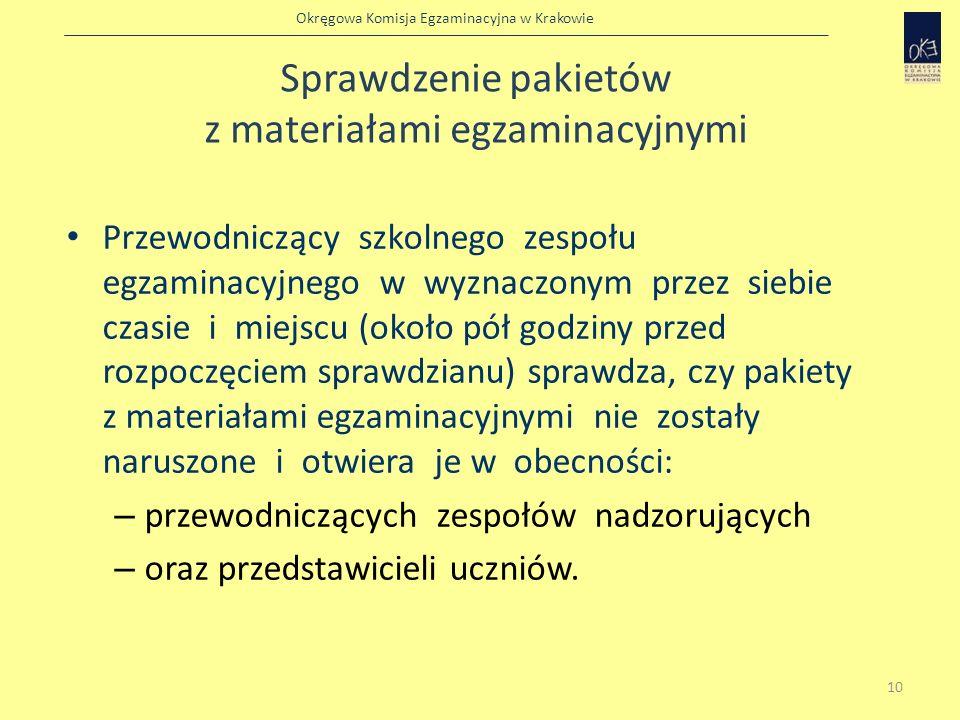 Okręgowa Komisja Egzaminacyjna w Krakowie Sprawdzenie pakietów z materiałami egzaminacyjnymi Przewodniczący szkolnego zespołu egzaminacyjnego w wyznac