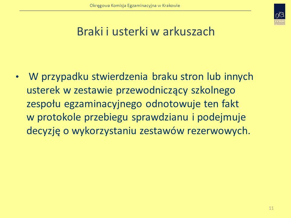 Okręgowa Komisja Egzaminacyjna w Krakowie Braki i usterki w arkuszach W przypadku stwierdzenia braku stron lub innych usterek w zestawie przewodnicząc