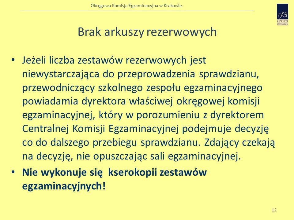 Okręgowa Komisja Egzaminacyjna w Krakowie Brak arkuszy rezerwowych Jeżeli liczba zestawów rezerwowych jest niewystarczająca do przeprowadzenia sprawdz
