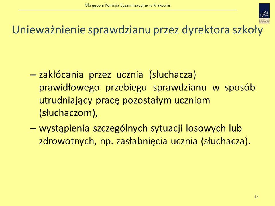 Okręgowa Komisja Egzaminacyjna w Krakowie Unieważnienie sprawdzianu przez dyrektora szkoły – zakłócania przez ucznia (słuchacza) prawidłowego przebieg