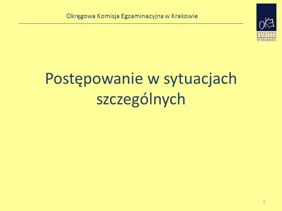 Okręgowa Komisja Egzaminacyjna w Krakowie Tematyka prezentacji W swojej prezentacji skoncentruję się na czterech zagadnieniach: – zapewnieniu poufności materiałów egzaminacyjnych, – sposobach postępowania w sytuacjach szczególnych, – unieważnieniu sprawdzianu, – obserwacji sprawdzianu.