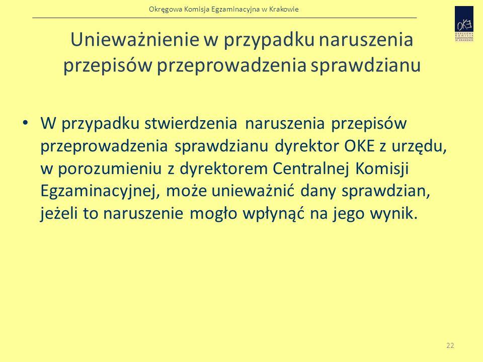 Okręgowa Komisja Egzaminacyjna w Krakowie Unieważnienie w przypadku naruszenia przepisów przeprowadzenia sprawdzianu W przypadku stwierdzenia naruszen