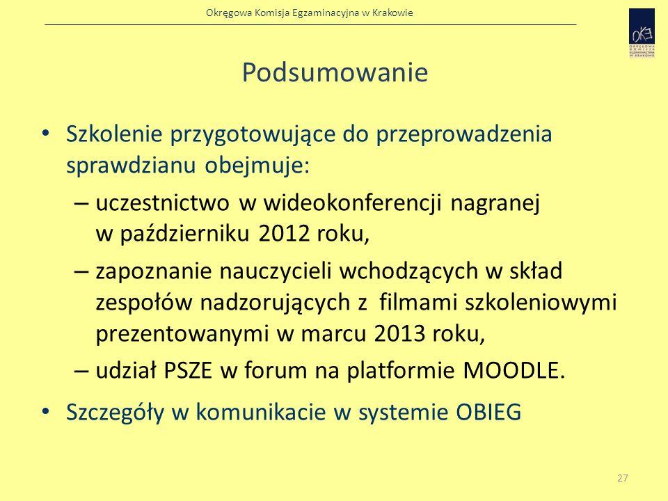 Okręgowa Komisja Egzaminacyjna w Krakowie Podsumowanie Szkolenie przygotowujące do przeprowadzenia sprawdzianu obejmuje: – uczestnictwo w wideokonfere