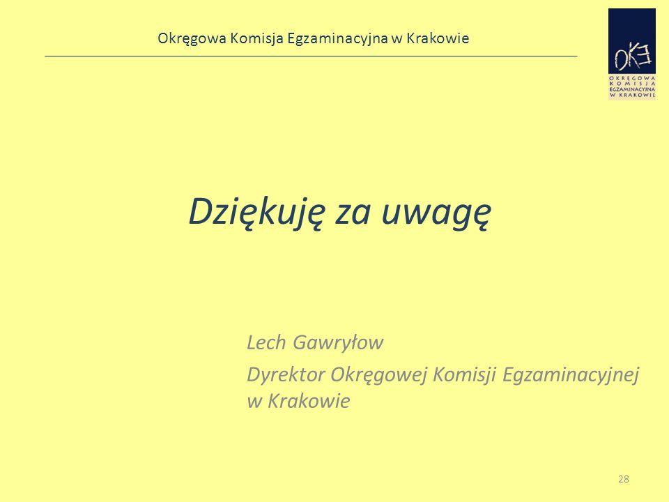 Okręgowa Komisja Egzaminacyjna w Krakowie Dziękuję za uwagę Lech Gawryłow Dyrektor Okręgowej Komisji Egzaminacyjnej w Krakowie 28
