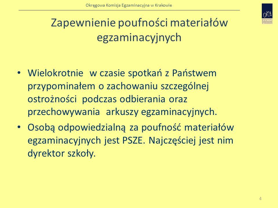 Okręgowa Komisja Egzaminacyjna w Krakowie Zapewnienie poufności materiałów egzaminacyjnych Wielokrotnie w czasie spotkań z Państwem przypominałem o za
