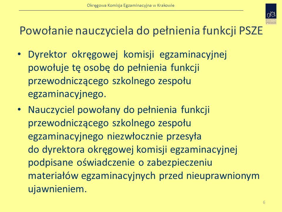 Okręgowa Komisja Egzaminacyjna w Krakowie Zabezpieczenie i ochrona materiałów egzaminacyjnych Za właściwe zabezpieczenie i ochronę materiałów egzaminacyjnych przed nieuprawnionym ujawnieniem - od momentu odbioru zestawów egzaminacyjnych do czasu przekazania ich po sprawdzianie do okręgowej komisji egzaminacyjnej - odpowiada przewodniczący szkolnego zespołu egzaminacyjnego 7