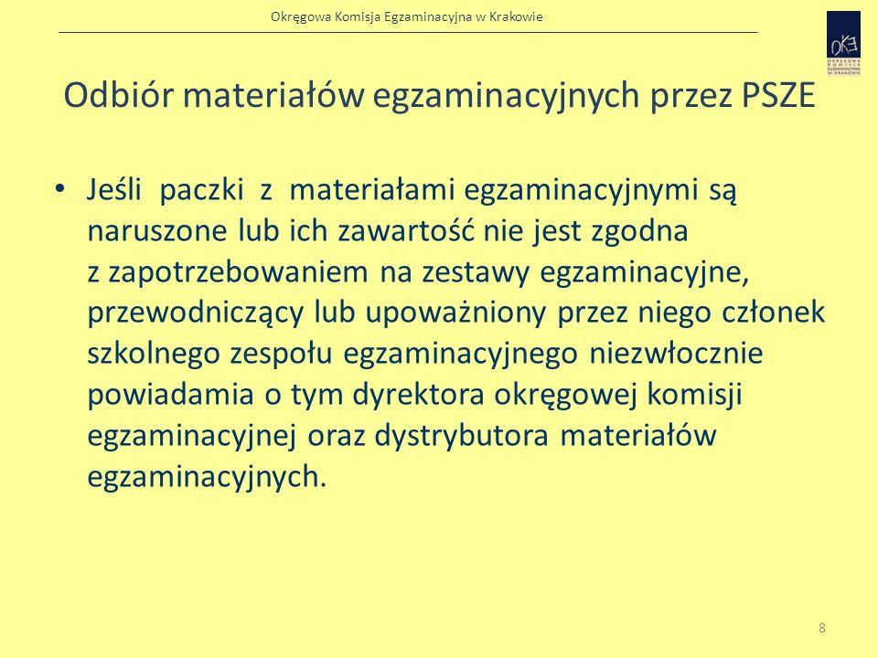 Okręgowa Komisja Egzaminacyjna w Krakowie Odbiór materiałów egzaminacyjnych przez PSZE Dyrektor okręgowej komisji egzaminacyjnej informuje przewodniczącego szkolnego zespołu egzaminacyjnego lub upoważnionego przez niego członka tego zespołu o dalszym postępowaniu.