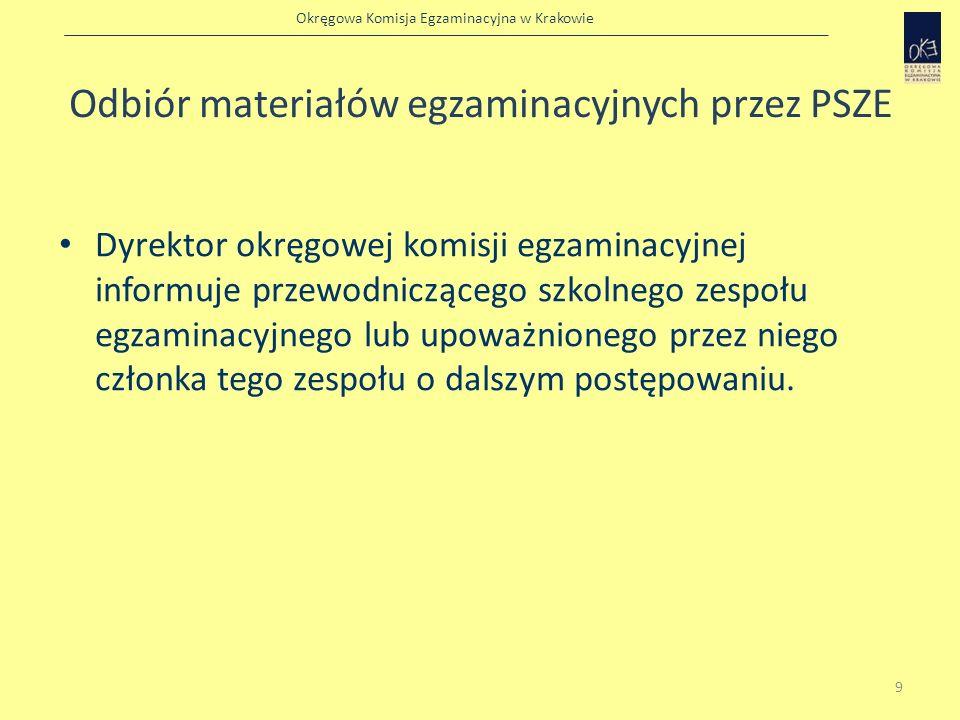 Okręgowa Komisja Egzaminacyjna w Krakowie Sprawdzenie pakietów z materiałami egzaminacyjnymi Przewodniczący szkolnego zespołu egzaminacyjnego w wyznaczonym przez siebie czasie i miejscu (około pół godziny przed rozpoczęciem sprawdzianu) sprawdza, czy pakiety z materiałami egzaminacyjnymi nie zostały naruszone i otwiera je w obecności: – przewodniczących zespołów nadzorujących – oraz przedstawicieli uczniów.