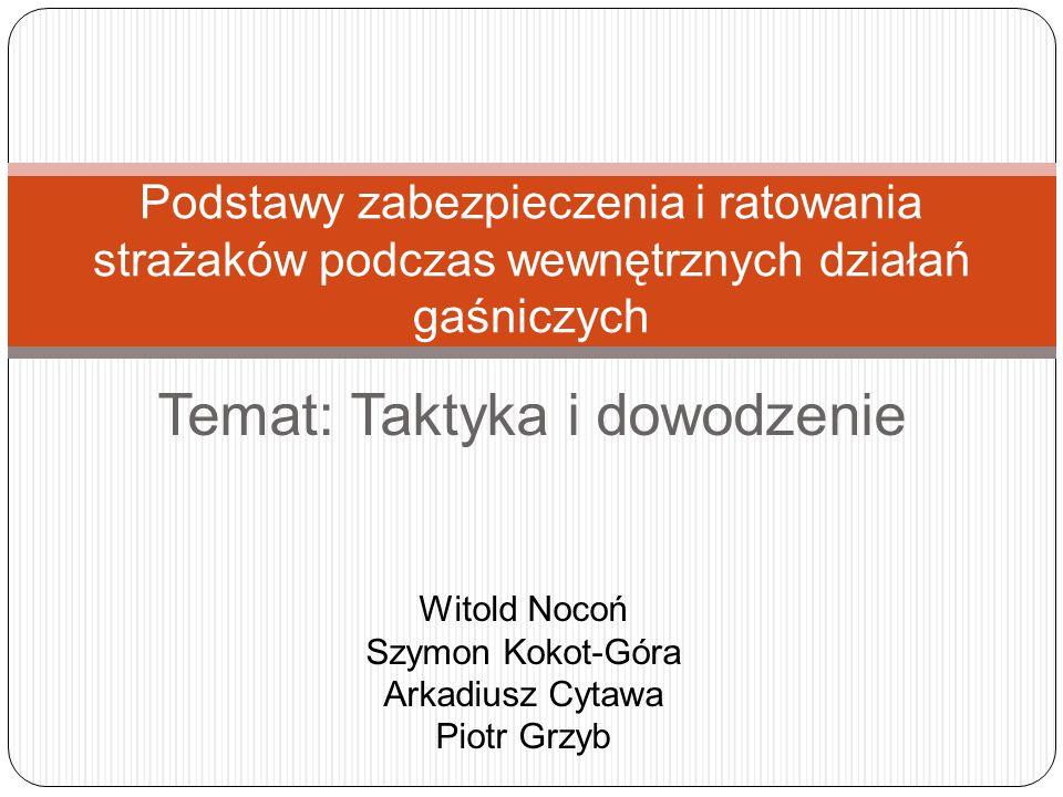 Temat: Taktyka i dowodzenie Podstawy zabezpieczenia i ratowania strażaków podczas wewnętrznych działań gaśniczych Witold Nocoń Szymon Kokot-Góra Arkad
