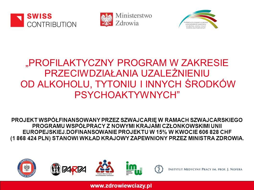 PROFILAKTYCZNY PROGRAM W ZAKRESIE PRZECIWDZIAŁANIA UZALEŻNIENIU OD ALKOHOLU, TYTONIU I INNYCH ŚRODKÓW PSYCHOAKTYWNYCH PROJEKT WSPÓŁFINANSOWANY PRZEZ S