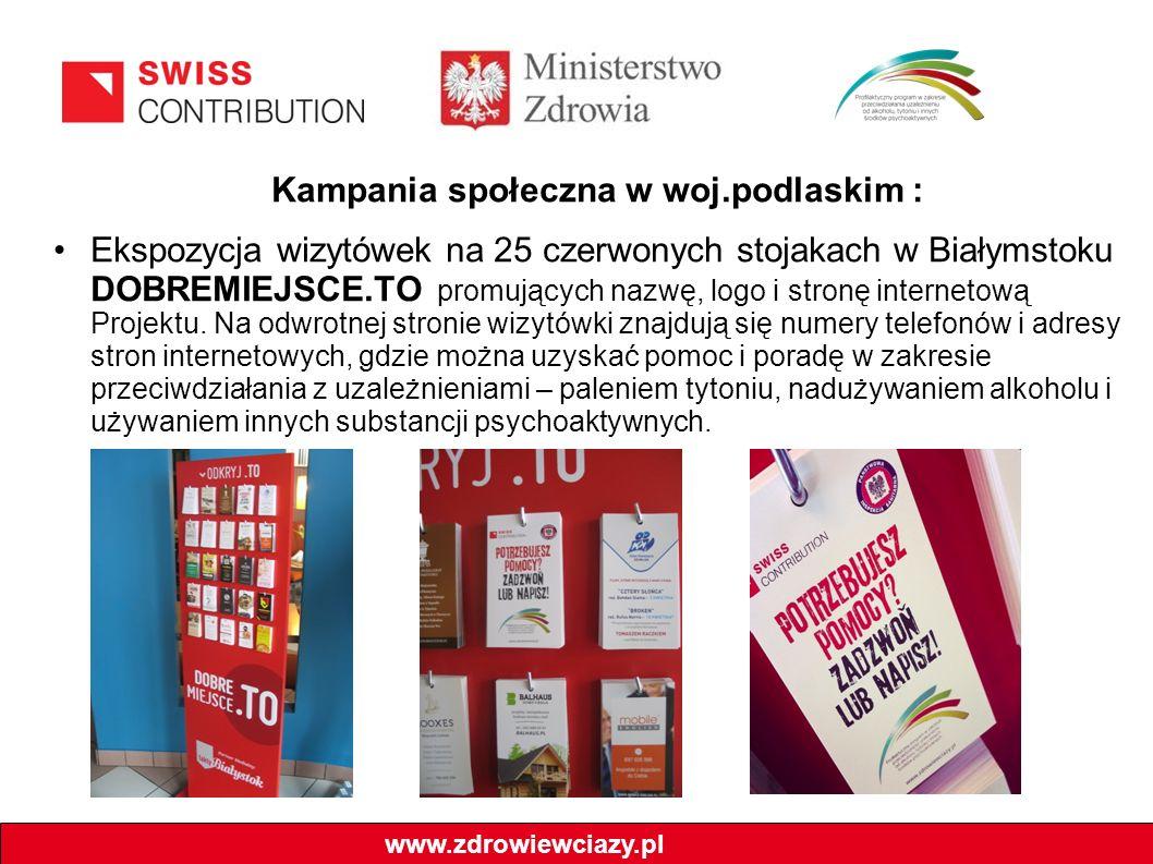 Kampania społeczna w woj.podlaskim : Ekspozycja wizytówek na 25 czerwonych stojakach w Białymstoku DOBREMIEJSCE.TO promujących nazwę, logo i stronę in