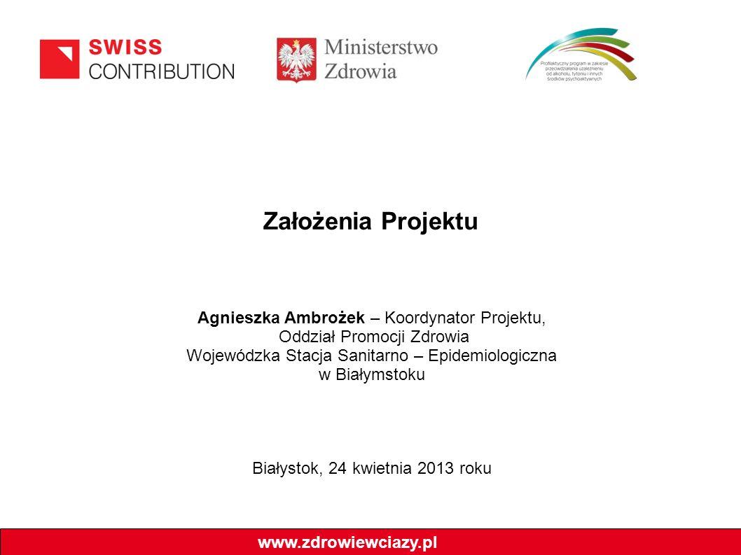 Założenia Projektu www.zdrowiewciazy.pl Agnieszka Ambrożek – Koordynator Projektu, Oddział Promocji Zdrowia Wojewódzka Stacja Sanitarno – Epidemiologi