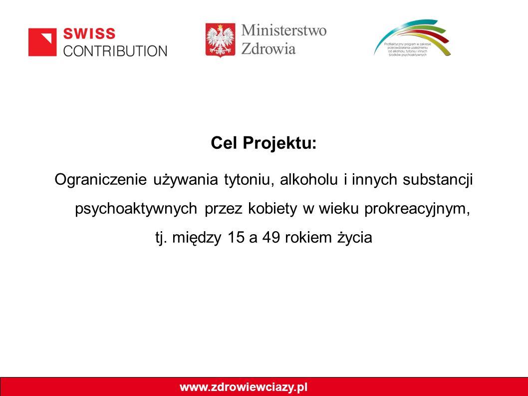 Cel Projektu: Ograniczenie używania tytoniu, alkoholu i innych substancji psychoaktywnych przez kobiety w wieku prokreacyjnym, tj. między 15 a 49 roki