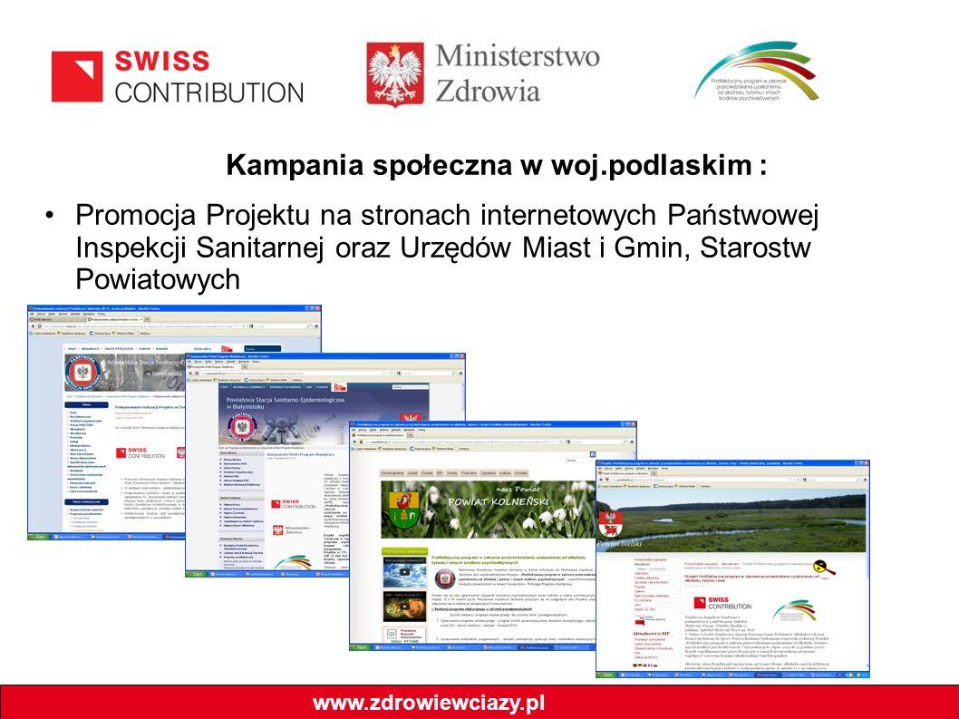 Kampania społeczna w woj.podlaskim : Promocja Projektu na stronach internetowych Państwowej Inspekcji Sanitarnej oraz Urzędów Miast i Gmin, Starostw P