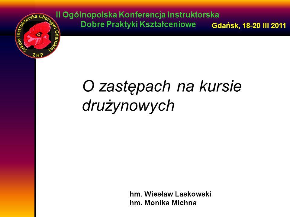 II Ogólnopolska Konferencja Instruktorska Dobre Praktyki Kształceniowe Gdańsk, 18-20 III 2011 Do zadań zastępowego należy: praca z zastępem przez 24h/dobę pomaganie, inspirowanie, doradzane, wyjaśnianie przekazywanie podstawowych treści kształceniowych w działaniu podsumowuje