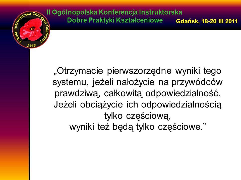 II Ogólnopolska Konferencja Instruktorska Dobre Praktyki Kształceniowe Gdańsk, 18-20 III 2011 Otrzymacie pierwszorzędne wyniki tego systemu, jeżeli na